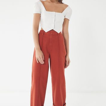 UO Tailored Deep Cuff Wide-Leg Pant | Urban Outfitters