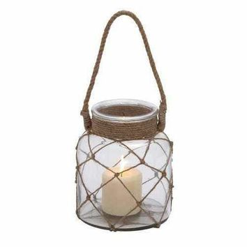 Jute Rope Netted Glass Jar Candle Lantern With A Sturdy Rope Handle