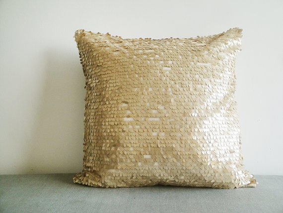 Gold Sparkle Throw Pillow : Gold Sequin Pillow Cover in , Gold from anekdesigns on Etsy