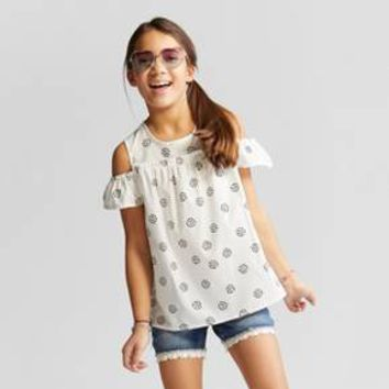 Girls' Dot Cold Shoulder Short Sleeve Top - Cat & Jack™ Cream