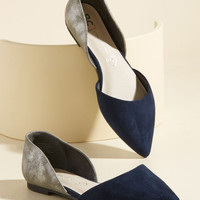 BC Footwear Miss Fancy Prance Vegan Flat in Navy & Pewter | Mod Retro Vintage Flats | ModCloth.com