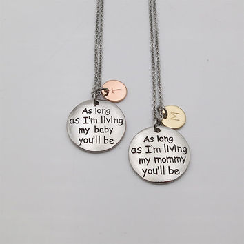 Two Tone Mother daughter Necklace I'll Love You Forever Quote Necklace Mom gift daughter gift personalized gifts