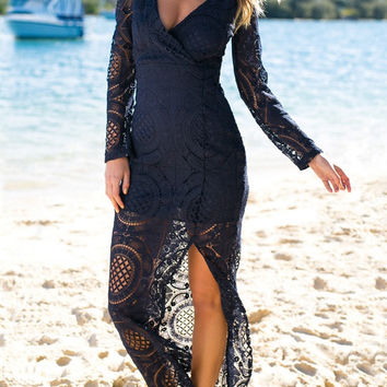 Navy Surplice Lace Long Dress