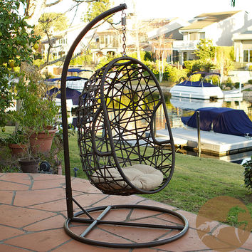 Christopher Knight Home Swinging Egg Outdoor Wicker Chair | Overstock.com