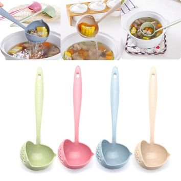 Multifunctional Soup Spoon With Filter Dinnerware Kitchen Cooking Tools Long Handle Lovely Spoons Scoop Colander