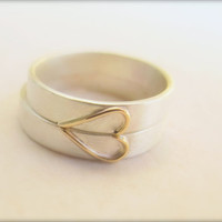 Heart Wedding Band Set in Sterling Silver and 14k Yellow Gold