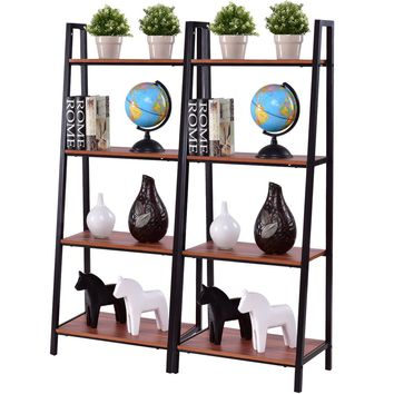 Giantex 2pcs 4 -Tier Ladder Storage Bookshelf Living Room Wall Bookcase Bundle Modern Ladder Shelf Home Furniture HW55458