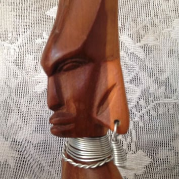 On Sale African Tribal Warrior Statue Hand Carved Wood Vintage African Folk Art Decor