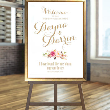 Welcome to our Wedding - Large Wedding Sign - Romantic Blooms Floral Bouquet with Verse - Vintage Gold Script - I Create and You Print