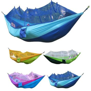 New Outdoor Hanging Hammock Portable High Strength Fabric Hammock Hanging Bed With Mosquito Net Sleeping Bed 260x130cm