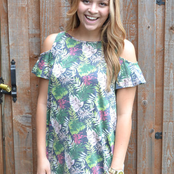 Blissful Sunshine Floral Print Top (Green)
