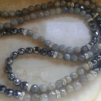 Necklace handmade of two strands labradorite  pearls