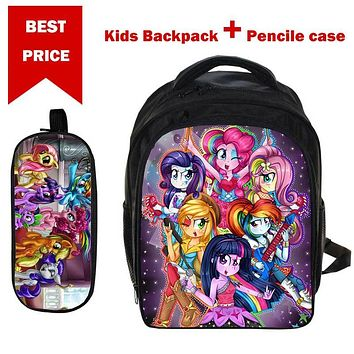 2017 Gifts for 3-6 years Boys Girls School Bag Anime My Little Pony Backpack with Pencil Case for Children Satchel Bag Daypack