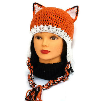 Adult Fox Ear Hat with braids, Women Earflap Cap, Stylish Beanie, Winter Crochet Wear, Orange Chunky Hat, New Year Gift, Female Friend Gift