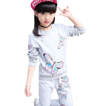 Kids 2018 new spring autumn long-sleeved printing butterfly sports suit jacket + pants 4 6 8 10 12 years old baby girls clothes