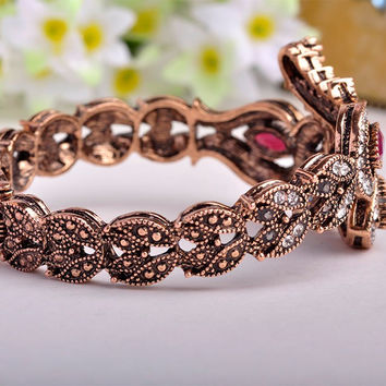 Latest Vintage Women Party Bangles Antique Gold Plated Red Acrylic Lily Flower Bracelets Full Crystals Turkish Bijuteria Jewelry