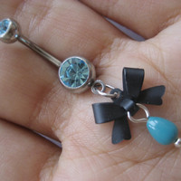 Bow Belly Button Ring Navel Jewelry Piercing- Teal Turquoise Aqua Light Blue CZ Gem Dangle Bowtie Charm