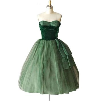 Pleated Short Evening Dress A Line Sweetheart Organza emerald green prom dress Prom Party Dresses