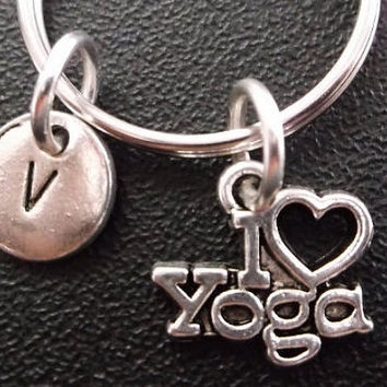 I Love Yoga keychain, keyring, bag charm, purse charm, monogram personalized custom gifts under 10 item No.313