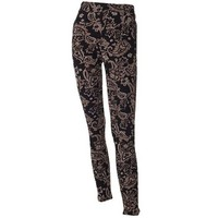 Jasmine Zip Pocket Leggings-Black and Brown Paisley