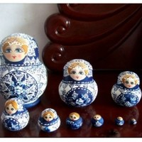 10pcs Blue and White Porcelain Color Wishing Doll Wooden Russian Nesting Doll Toy Russian Doll Beautiful Dolls