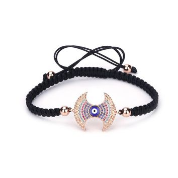 UBeata Hand-woven Braided Bracelet with Evil Eyes Zircon Charm 4mm Round Copper Beads Adjustable Girl