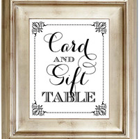 8x10 Card & Gift Table White Sign For Your Wedding Black Friday AND Cyber Monday Sale
