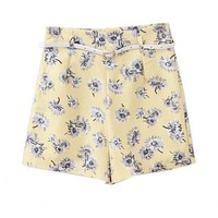 Retro Flower Printed High Waist Shorts with Belt