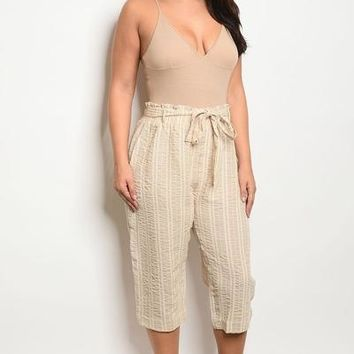 Yvonne Striped Capri Pants Khaki