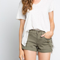 Colored Denim Boyfriend Shorts
