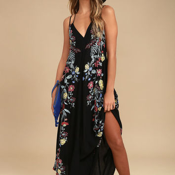 Free People Ashbury Black Floral Print Midi Slip