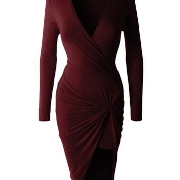 Lightweight Side Draped Bodycon Dress with Stretch