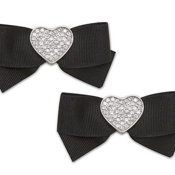Sassy Clips Heart / Silver / Clear Crystal Rhinestones / Black Ribbon Bow