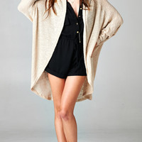LONG SLEEVE KNIT CARDIGAN - TAUPE