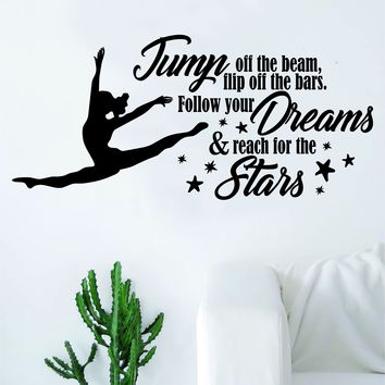 Reach for the Stars Quote Decal Sticker Bedroom Living Room Wall Vinyl Art Home Decor Teen Nursery Girls Dance Ballet Leap Gym Gymnist Gymnastics