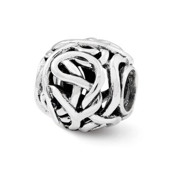 Sterling Silver Antiqued Intricate Swirl Bali Bead Charm