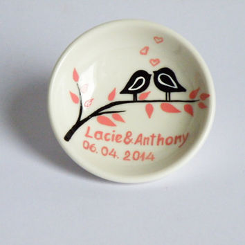 Hand painted Wedding Ring Pillow Alternative , Wedding Ring Dish Black birds on branch