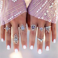 Retro Carved Knuckle Rings Sets 7Pcs +Gift Box