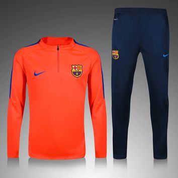 KUYOU Barcelona 2016/17 Orange Men Tracksuit Slim Fit