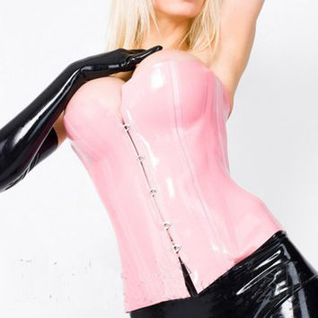 women Pink latex corsets gummi 1mm sexy waistcoat natural rubber underbust bustiers plus size hot sale Customize service