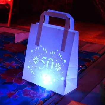 50th birthday decor, luminarias, party lantern bags - personalised