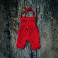 Newborn Photo prop/ Baby Romper/ Girl overalls/ Newborn pants/ Picture prop for girl/ Suspender pants/ First baby clothes.
