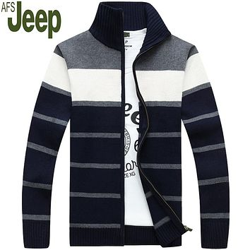 Hot Sale Men's Sweater 2016 autumn new arrival Jeep striped cardigan sweater men Fashion stand collar men sweater M-XXXL 105