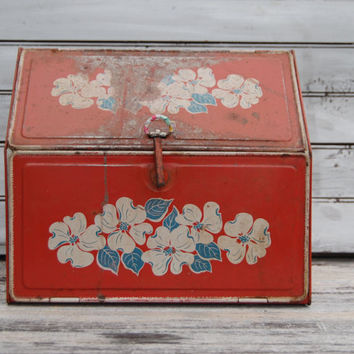 Vintage Bread Box, Old Bread Box, Metal Bread Box, Red Bread Box, Floral Bread Box, Retro Kitchen Decor, Retro Bread Box, Red Kitchen Decor