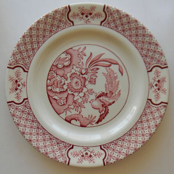 Aesthetic Movement Style Red Transferware Plate Asian Oriental Motif Birds & Flowers Chinoiserie