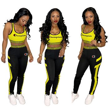 Champion Sport Vest Tank Top Cami Pants Trousers Sweatpants Set Two-Piece