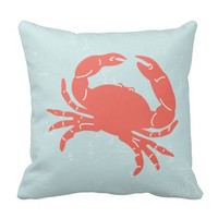 Nautical Pillow with Crab Blue