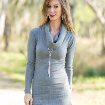 My Debut Cowl Neck Sweater - Grey