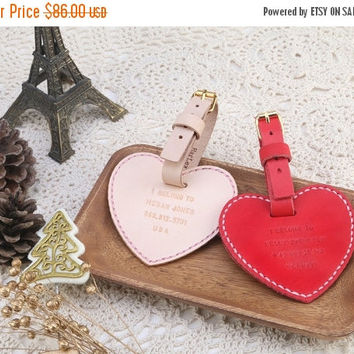 ON SALE 30% OFF 2 Heart Shape Double Sided Luggage Tag in Set - Personalized - Leather - Natural - Wedding Favors - Hand Stitched by Harlex