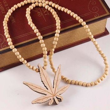 LMFONTJ Stylish Gift Jewelry New Arrival Shiny Wooden Pendant Leaf Necklace [47755722764]
